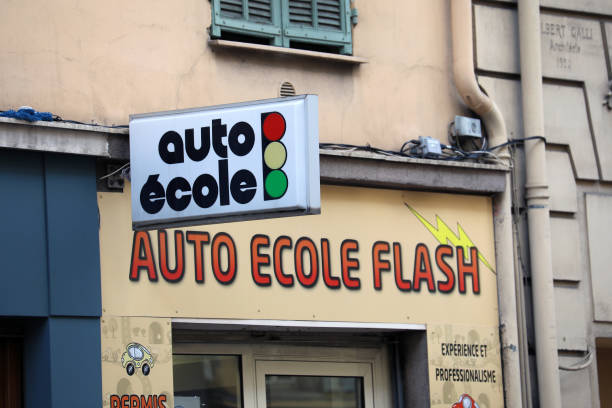 French Auto Ecole Driving School Sign French Auto Ecole, Driving School Sign In French Language In Nice City, France, Europe ecole stock pictures, royalty-free photos & images