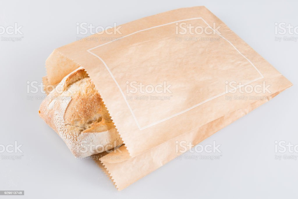 french baguette kraft paper packaging stock photo
