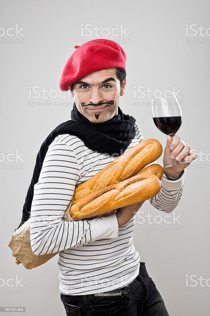 Baguettes y vino francés - Foto de stock de 30-39 años libre de derechos