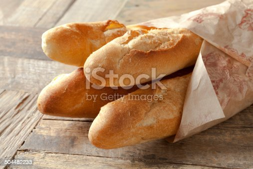 French baguettes wrapped in paper