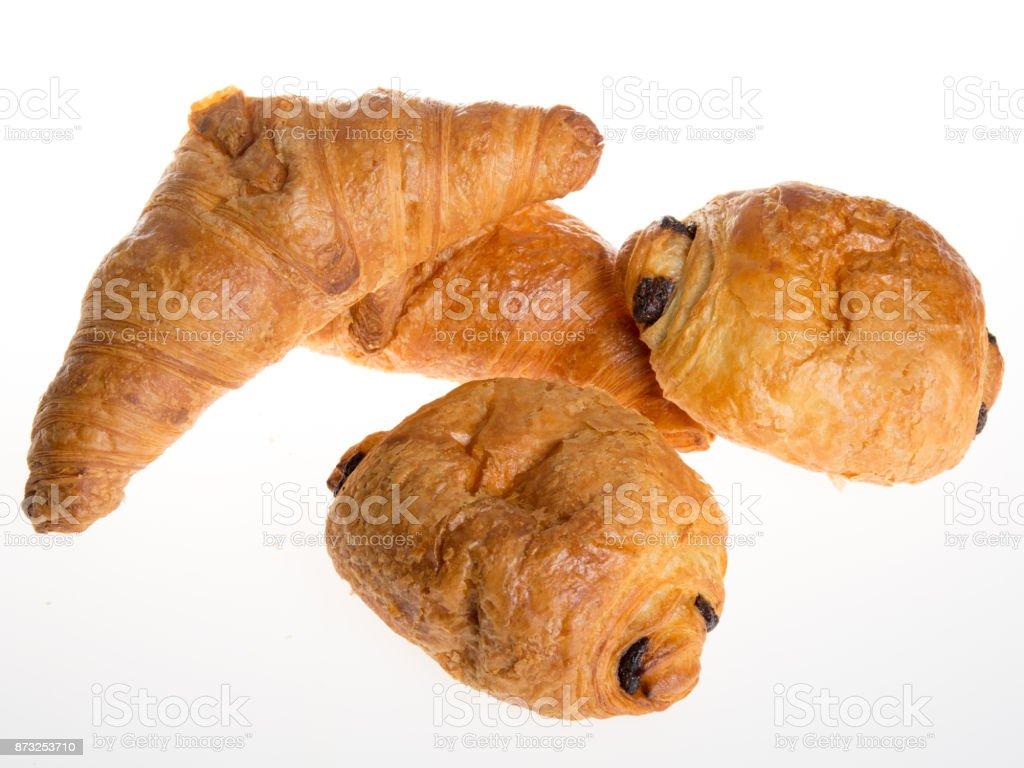 French bakery products isolated on white background stock photo