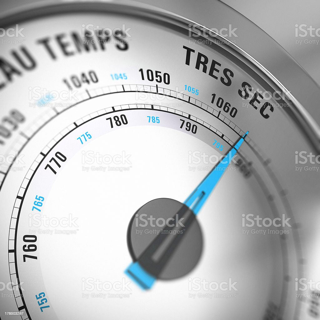 French Barometer Dial Set to Very Dry, Weather Forecast stock photo