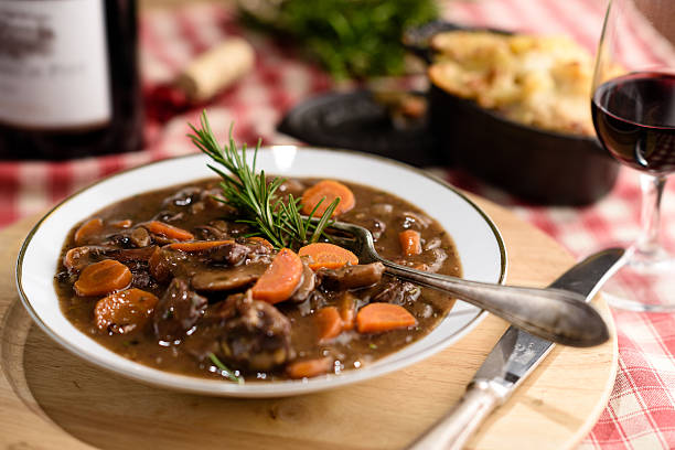 french beef bourguignon french beef bourguignon meat stew with carrots beef bourguignon stock pictures, royalty-free photos & images