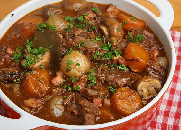 French Beef Bourguignon Stew Beef bourguignon, classic French stew beef bourguignon stock pictures, royalty-free photos & images