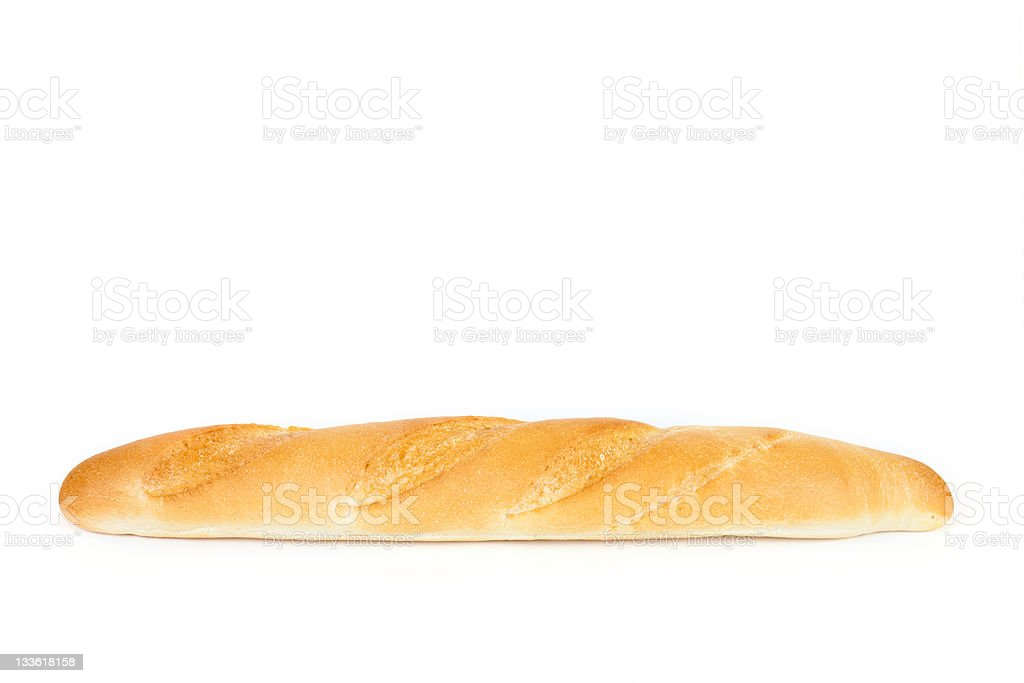 french bread on a white background stock photo