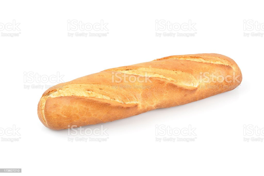 French bread roll isolated on white background royalty-free stock photo