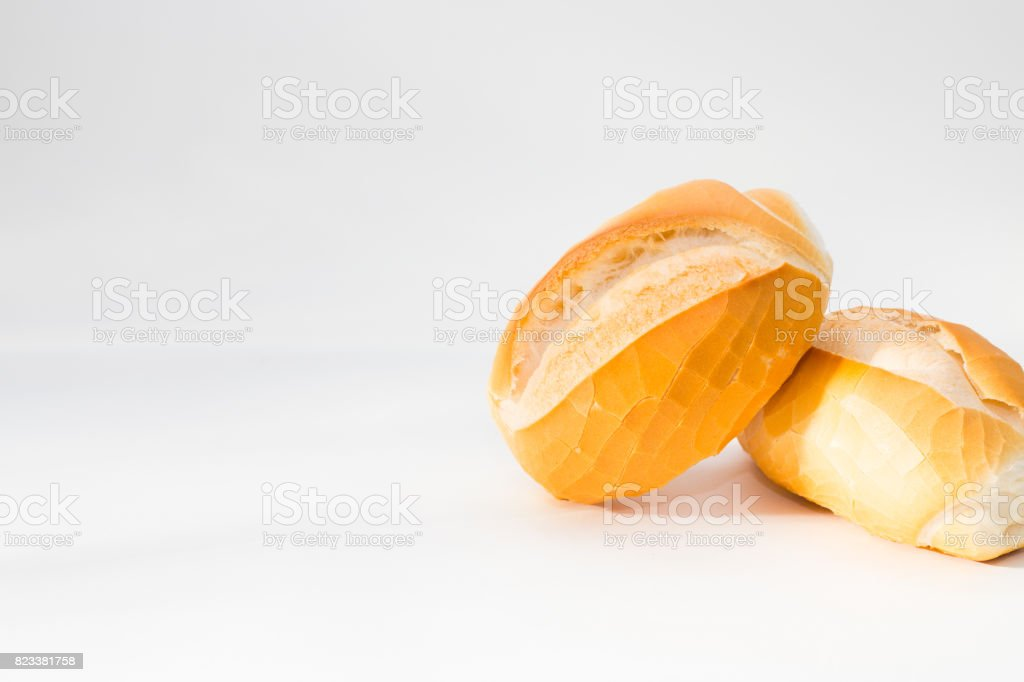 French bread white background stock photo