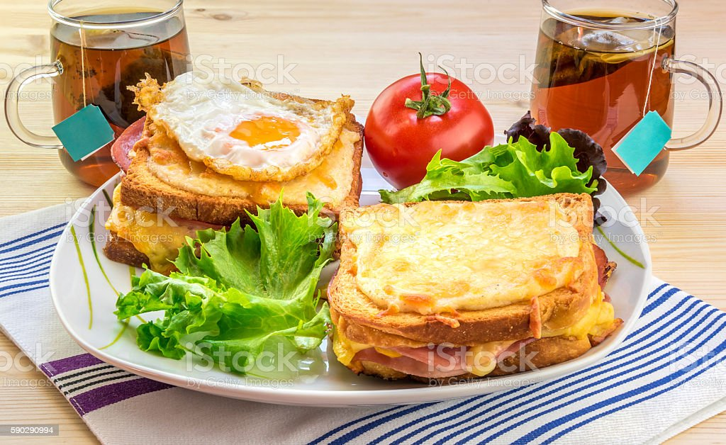 French breakfast for two people stock photo