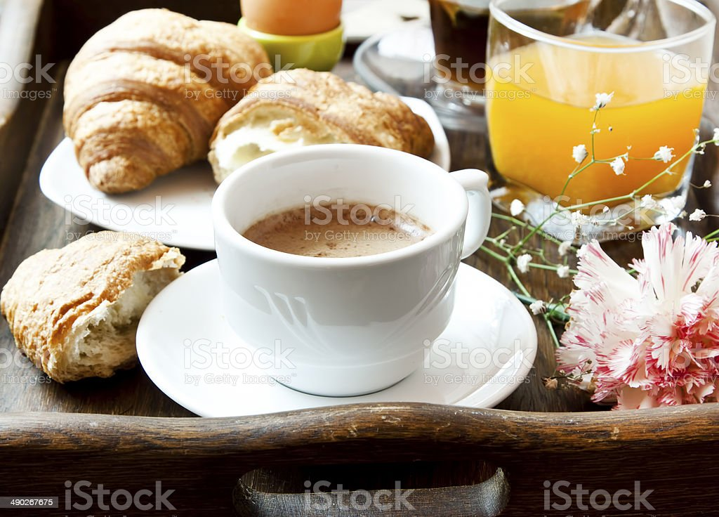 French Breakfast with Coffee, Flower and Croissants stock photo