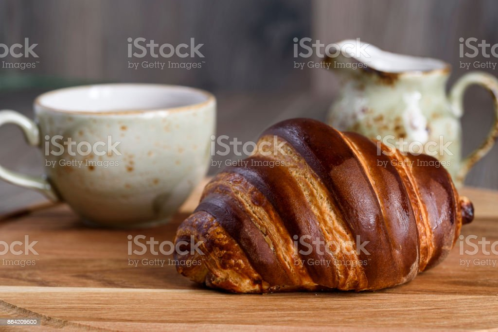 French breakfast with croissant and coffee royalty-free stock photo