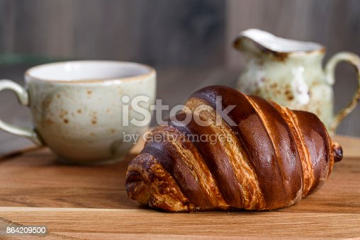 French Breakfast With Croissant And Coffee Stock Photo & More Pictures of Autumn