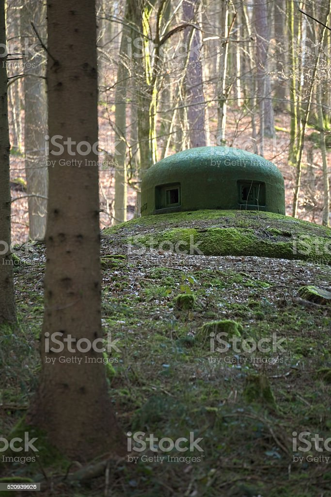 French bunker turret near Langensoultzbach, Vosges, France stock photo