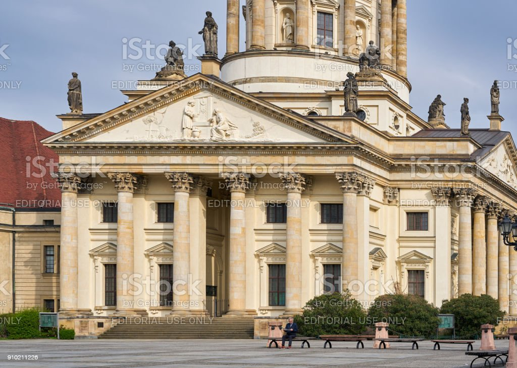 French cathedral at Gendarmenmarkt market in Berlin stock photo