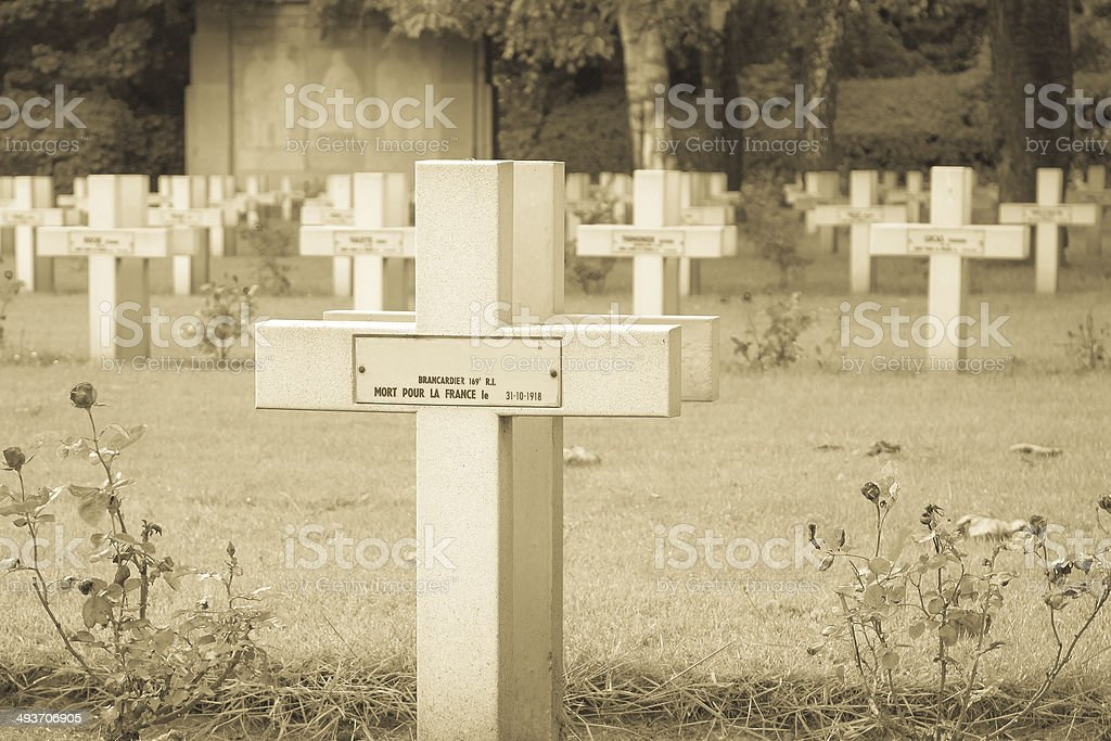 French cemetery from the First World War in Flanders belgium. stock photo