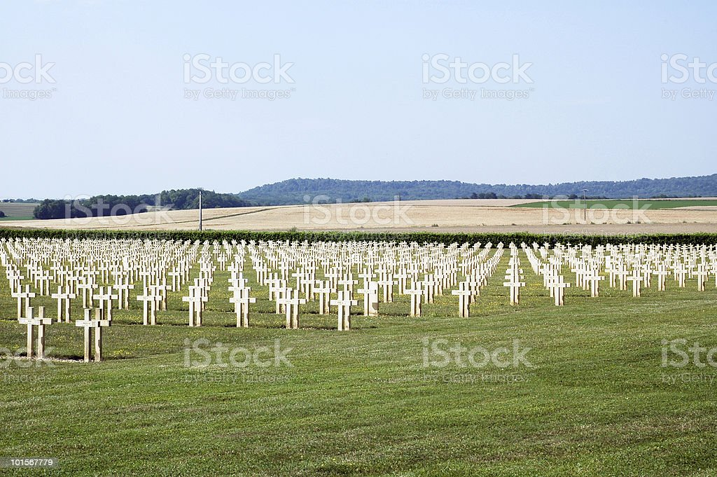 French Cemetery in Champagne Ardenne (France) Champagne - Ardenne, France. French Cemetery of the First World War. Agricultural Field Stock Photo