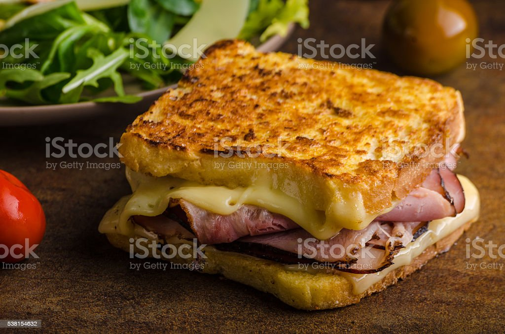 French cheese meat toast stock photo