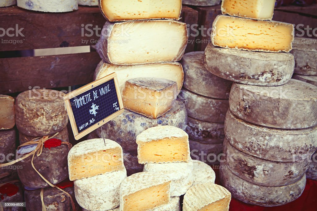 French cheese on the market in Paris stock photo