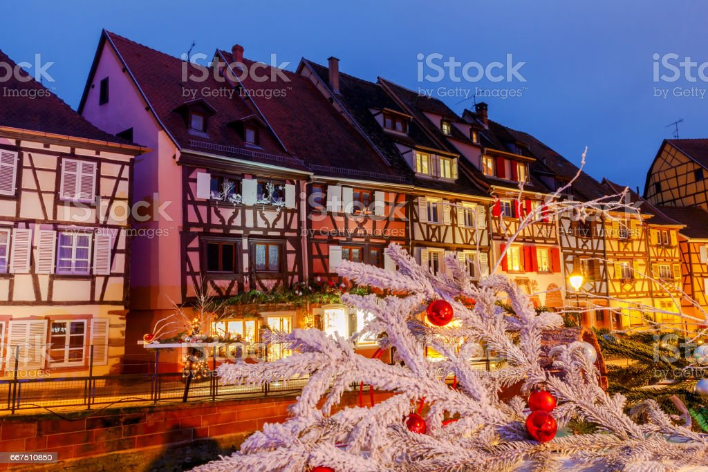 French city Colmar on Christmas Eve foto stock royalty-free
