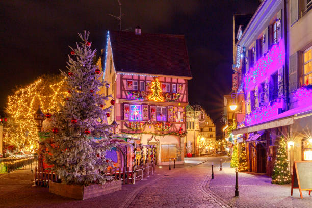 French city Colmar on Christmas Eve. stock photo
