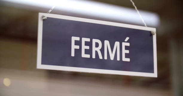 French Closed Sign stock photo