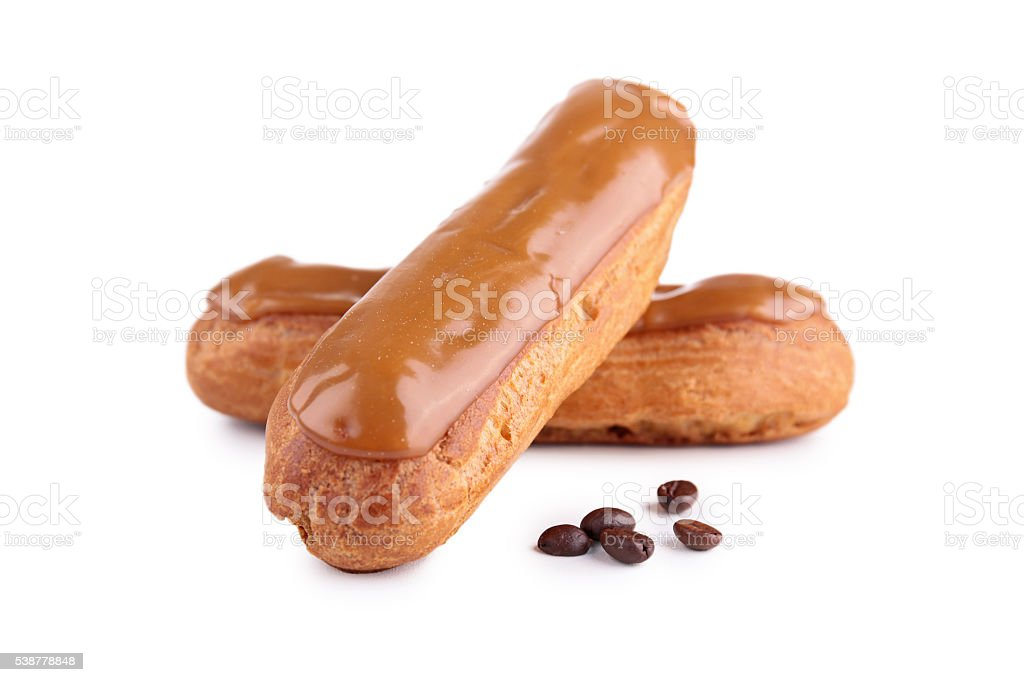 french coffee eclair pastry stock photo