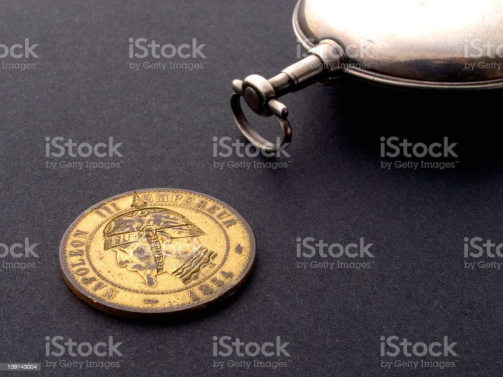 French Coin and Watch royalty-free stock photo