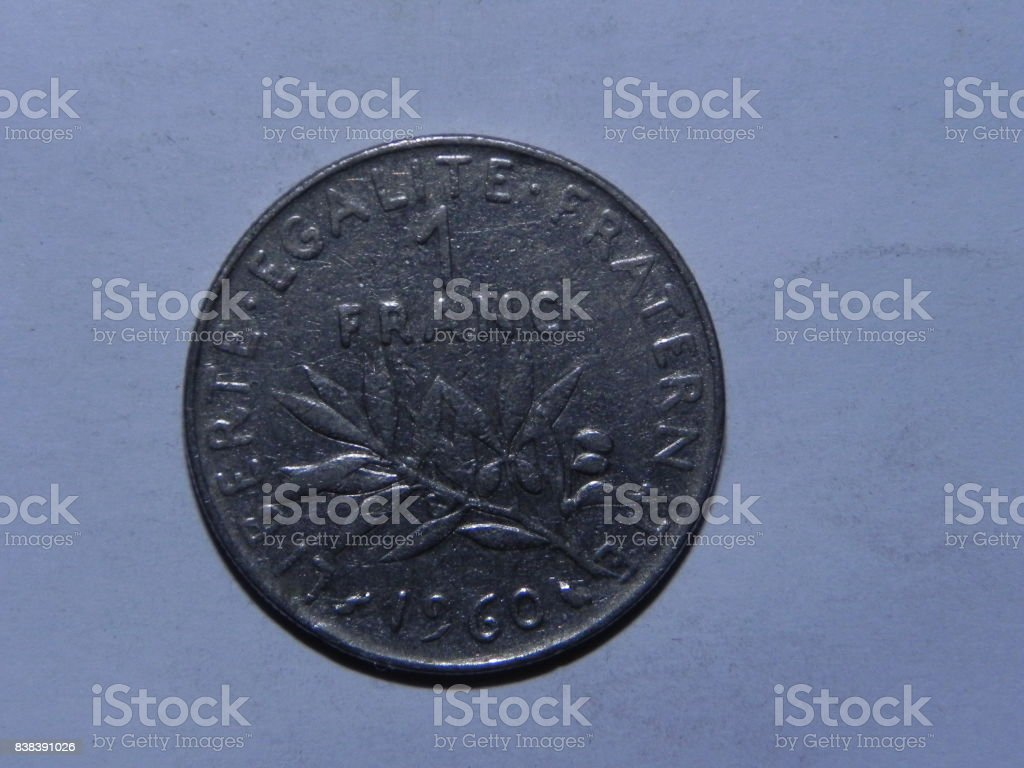 French coin macro stock photo
