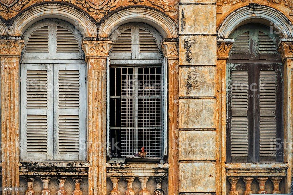 French Colonial Style Windows Battambang Cambodia stock photo