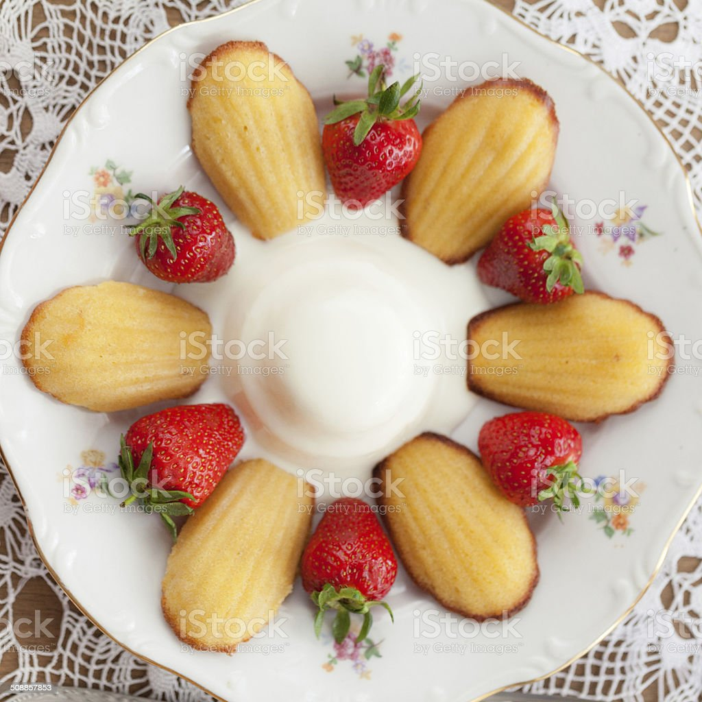 French cookies madeleine with Pannacotta stock photo