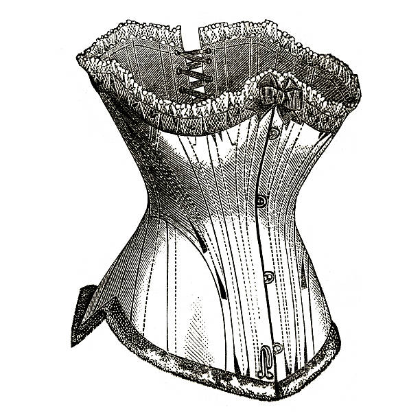 "French Corset Vintage fashion  illustration from a book of my private collection: ""La mode illustrée"" printed in 1882 Paris France corset stock pictures, royalty-free photos & images"