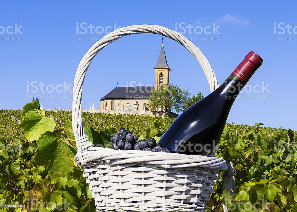 French country and vineyards surrounding a church stock photo