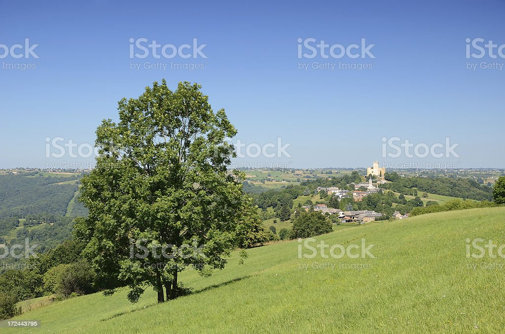 French country landscape with the Phoebus's castle stock photo