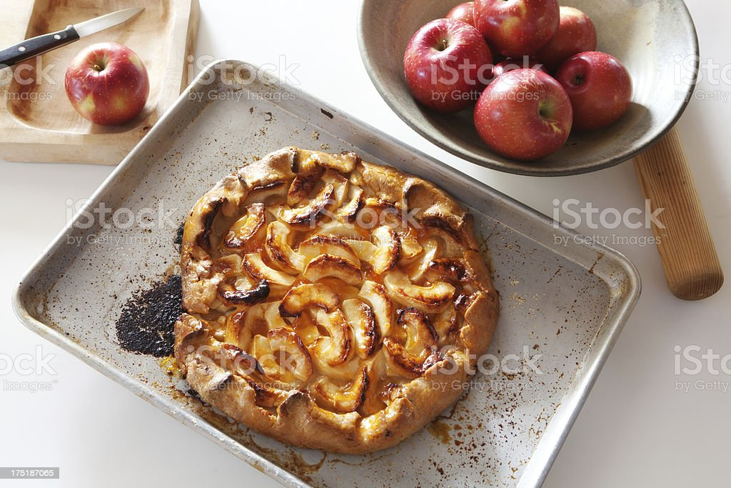French Country Style Apple Tart in Kitchen Horizontal stock photo