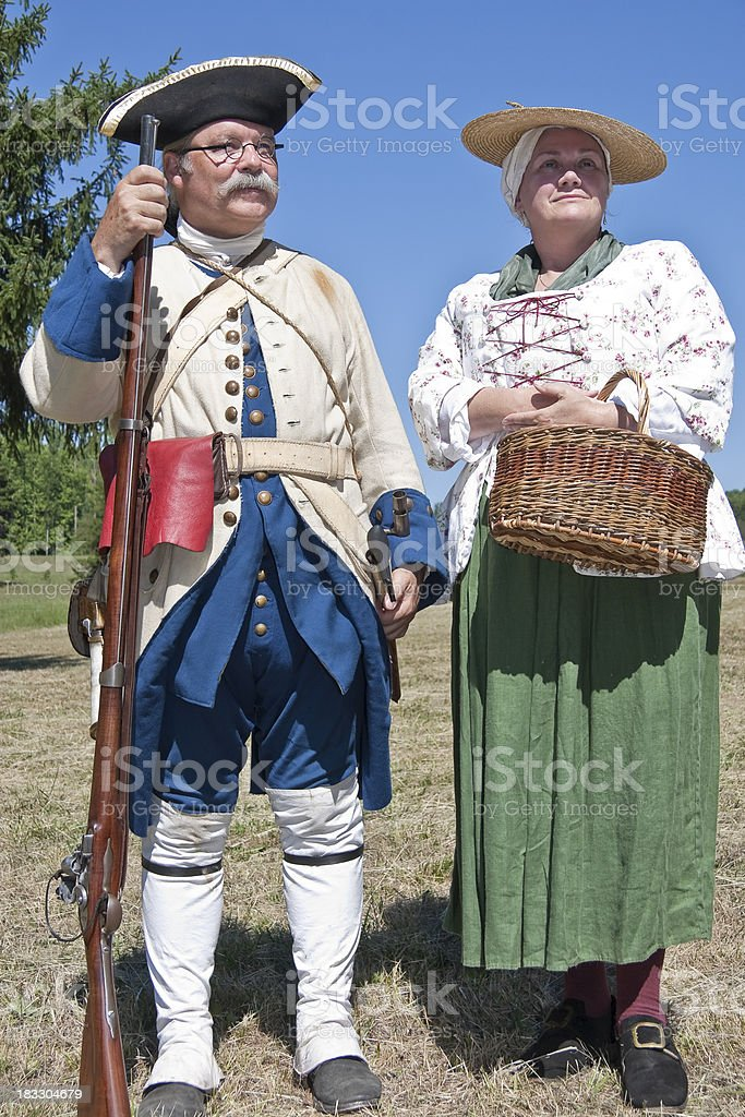 French Couple, French/Indian War Reenactors stock photo