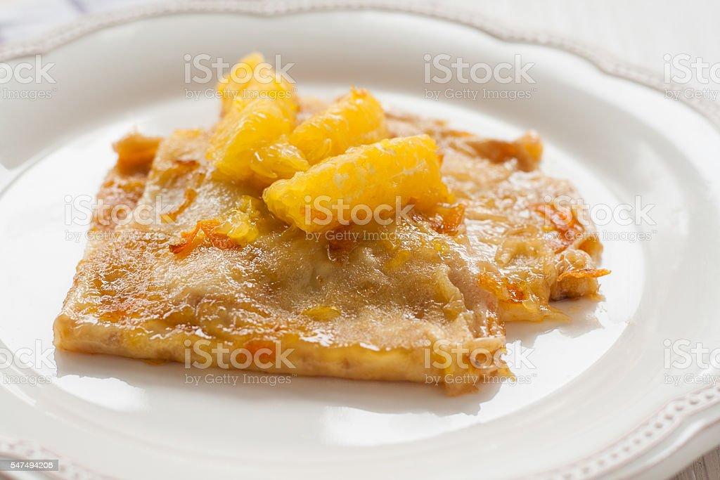 French crepes suzette crepe on a light background - Foto de stock de Al horno libre de derechos