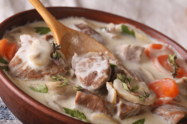 French cuisine: Blanquette of veal macro in a bowl. horizontal - Photo