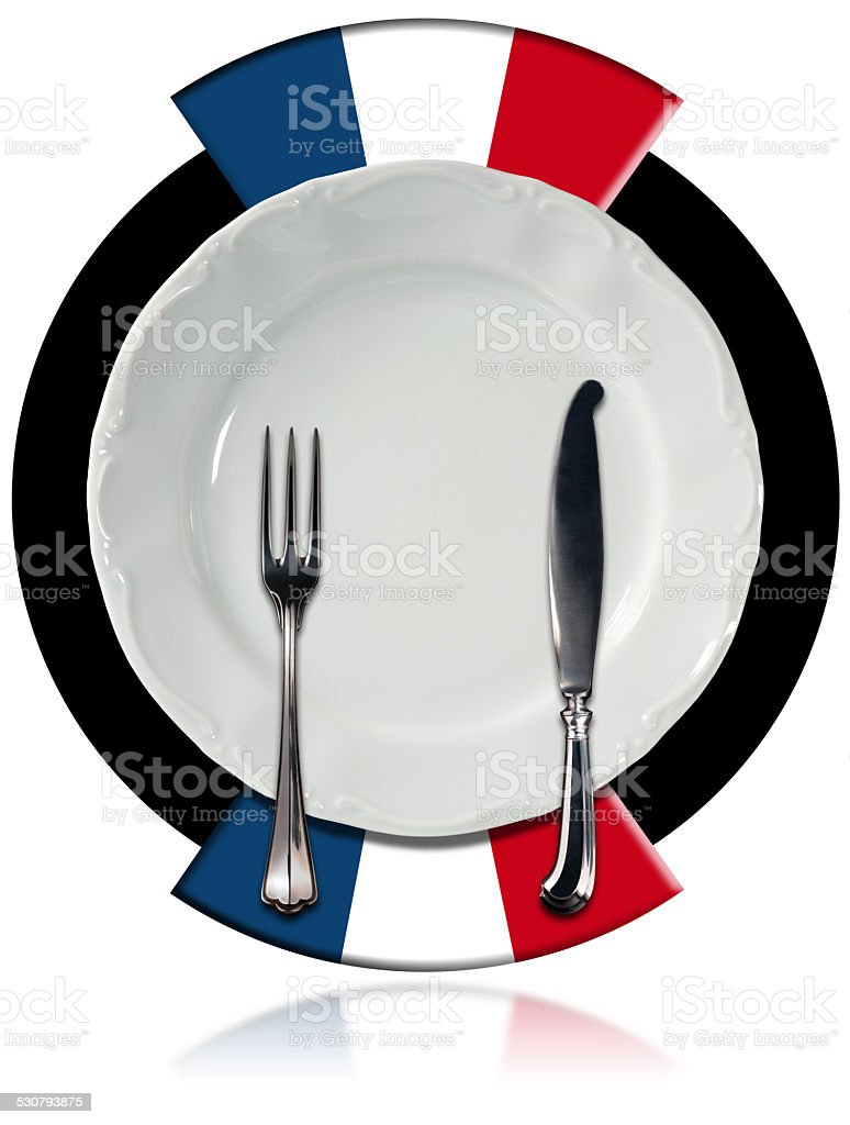 French Cuisine - Plate and Cutlery stock photo