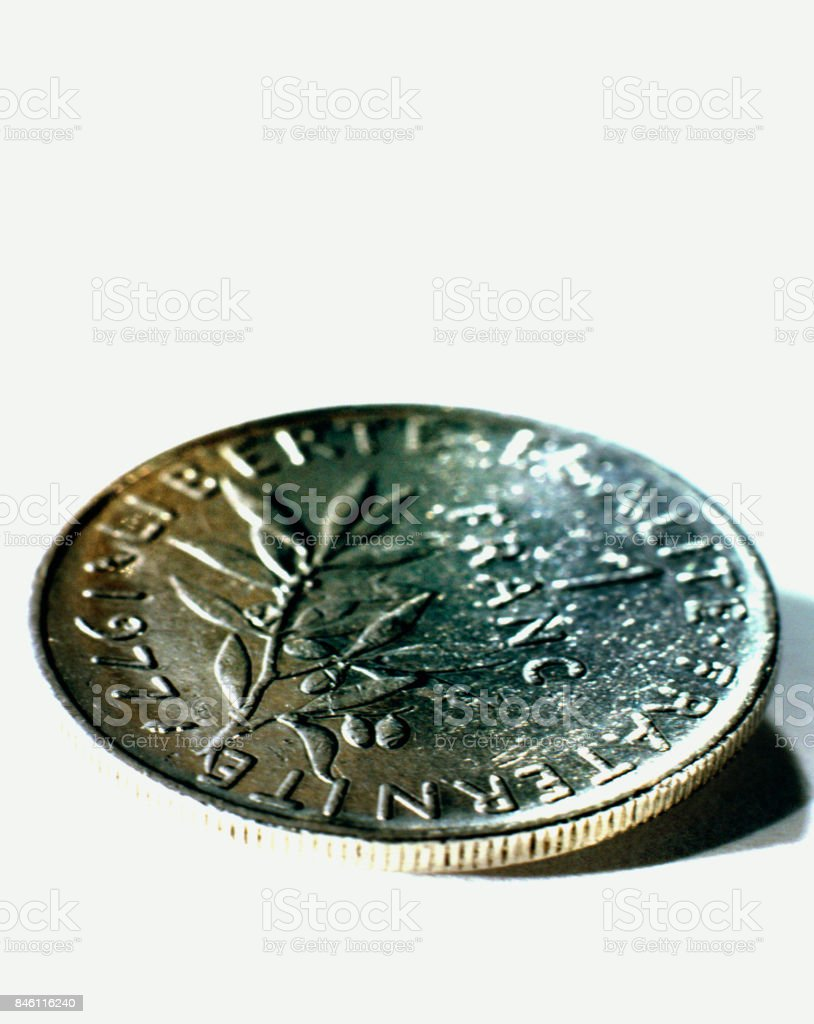 French currency: one franc coin, close-up. stock photo