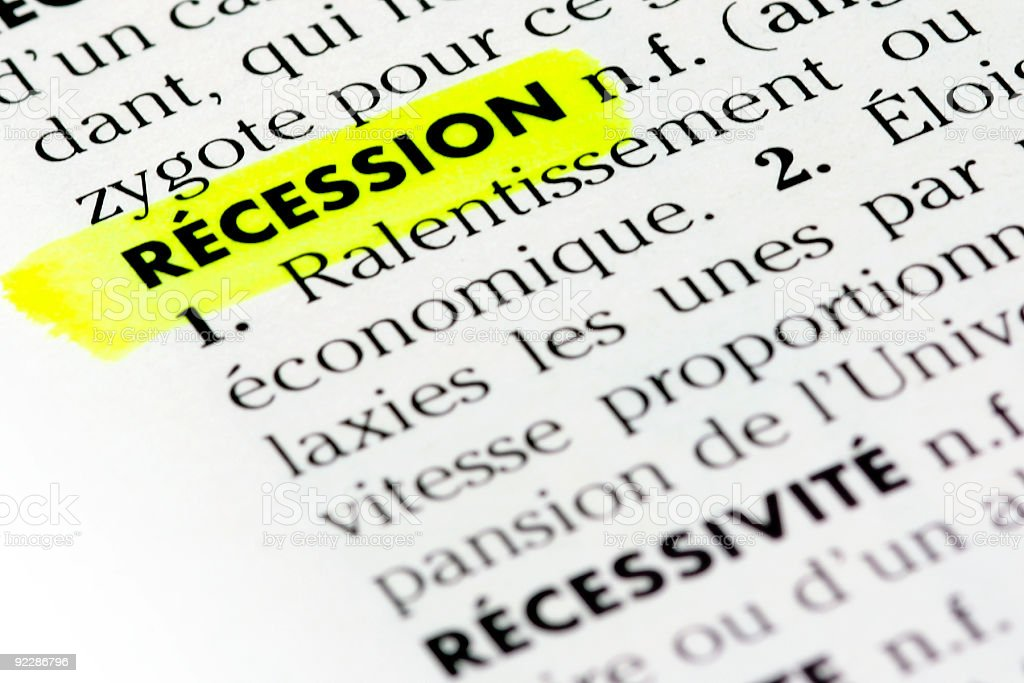 French definition of the word recession royalty-free stock photo