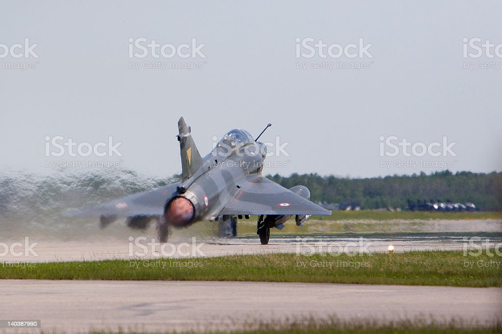 French Dessault-Breguet Mirage M2000N Jet Fighter Afterburner royalty-free stock photo