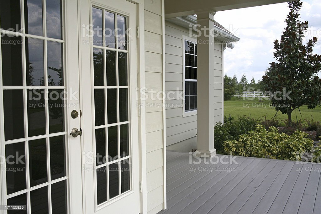French Doors, Country Home Porch stock photo