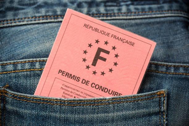französischen führerschein in der tasche an der rückseite der blue jeans, führerschein testkonzept - führerschein stock-fotos und bilder