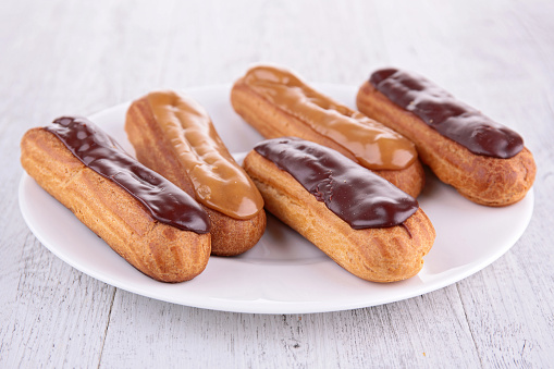 french eclair, puff pastry and cream