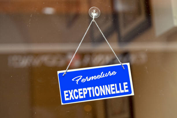 French exceptional closure sign stock photo