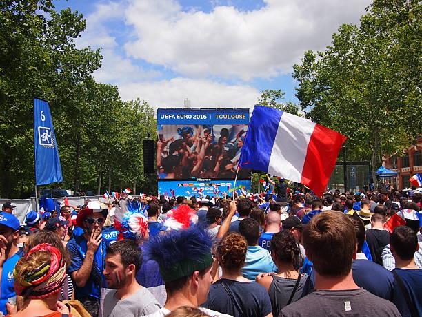 French fans in fan zone stock photo
