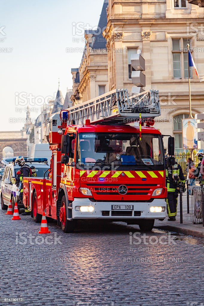 French fire truck stock photo