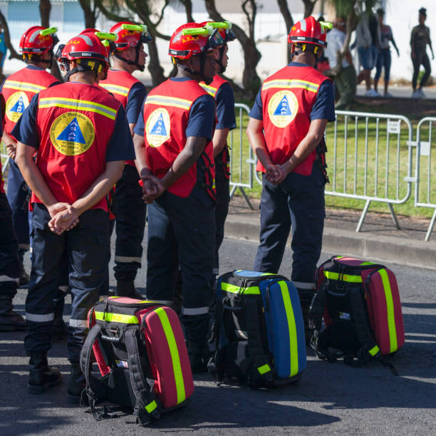 French First Responder - ASAP Saint Denis, Reunion - July 14 2016: First Responder from the A.S.A.P. (Assistance Secours A Personnes) parading during Bastille Day. ASAP stock pictures, royalty-free photos & images