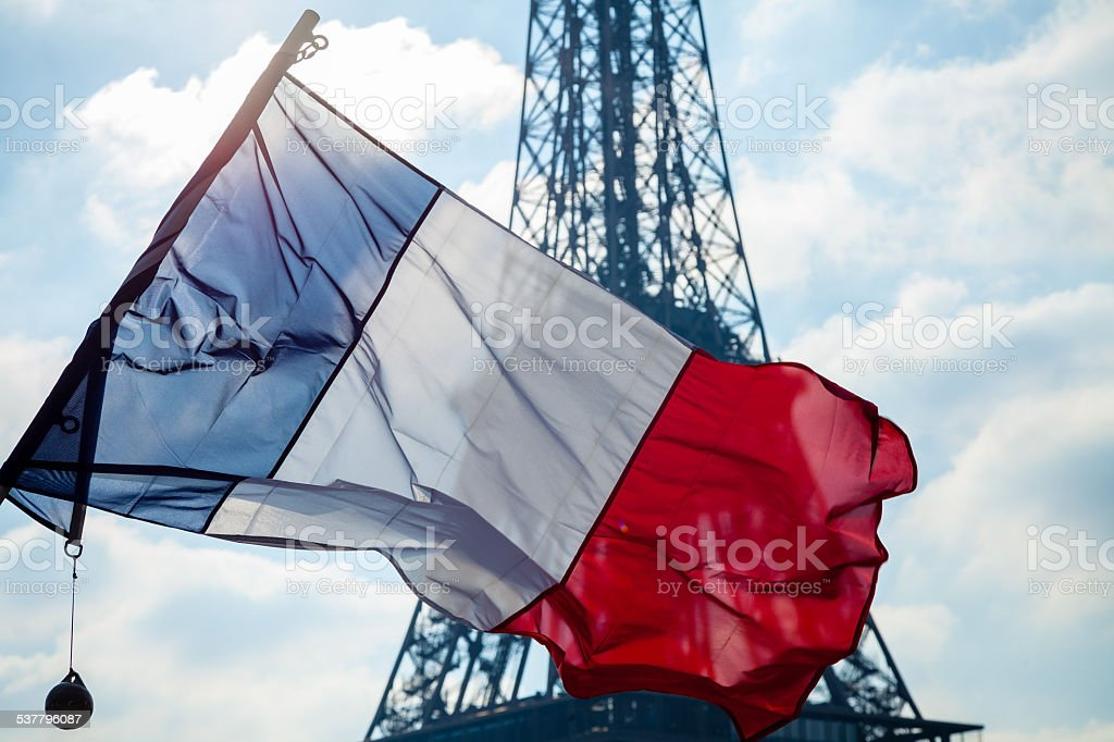 French flag and Eiffel Tower stock photo