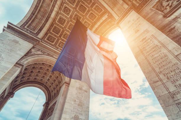 Französische Fahne am Arc de Triomphe am 14. Juli – Foto