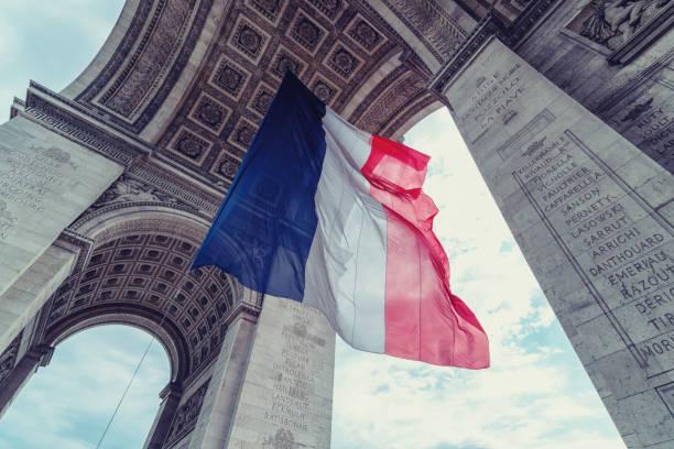 Französische Fahne bei Arc de Triomphe – Foto